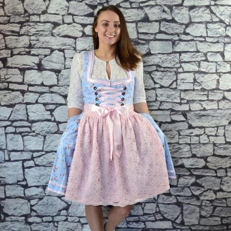 Light Blue Floral Dirndl with Pink Apron