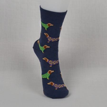 Women's Blue Weiner Dog Socks