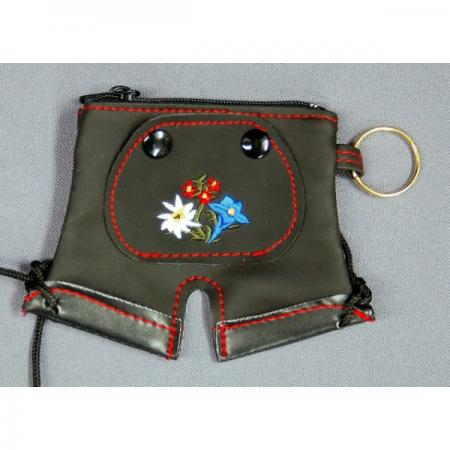 Lederhosen purse with embroidered edelweiss