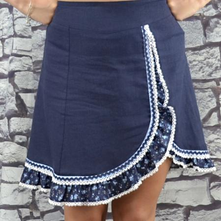 Navy Skirt with Floral Trim