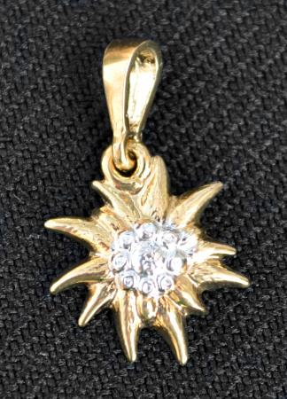 2 Tone Gold/Silver Edelweiss Pendant
