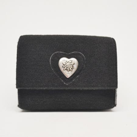 Black felt edelweiss heart purse