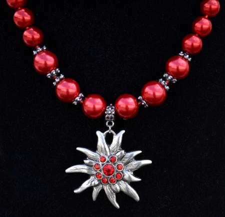 Red Chunky Bead Edelweiss Necklace