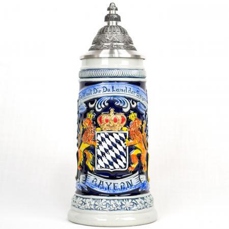 blue bavarian crest stein