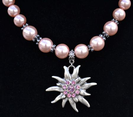 Pink Chunky Bead Edelweiss Necklace