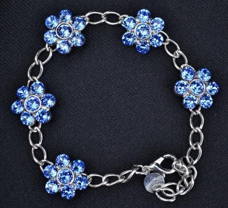 Blue Crystal Floral Bracelet