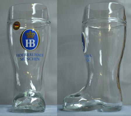 Hofbrauhaus Glass Beer Boot 1/2 L