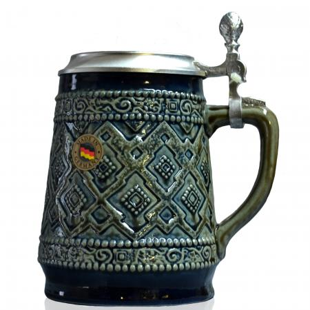 Blue and Brown Relief Stein