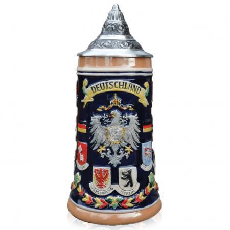 Cobalt Blue Deutschland Stein with City Crests