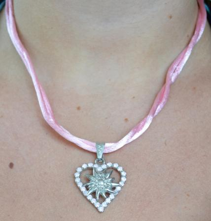 Heart with edelweiss necklace-12885