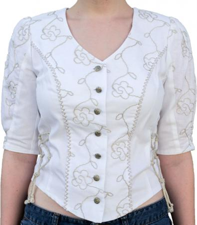 Ladies White and Beige Button Down Shirt size 6 only