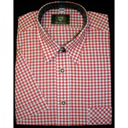 Short Sleeved Red Checkered Shirt