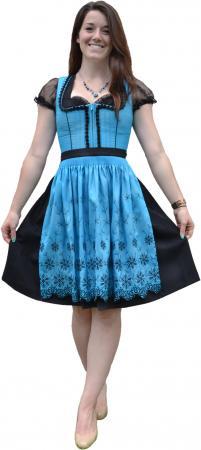 Women's Blue and Black Floral Dirndl Size 4