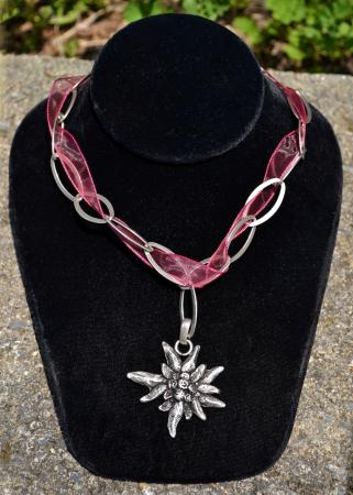 Edelweiss Ribbon & Chain Necklace-0