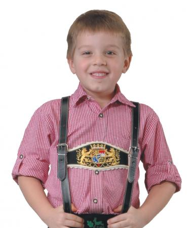 Boy's Embroidered Black Suspenders