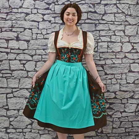 brown and teal dirndl