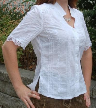 Women's White Imported Blouse with Collared Neckline and Lace-DISCONTINUED