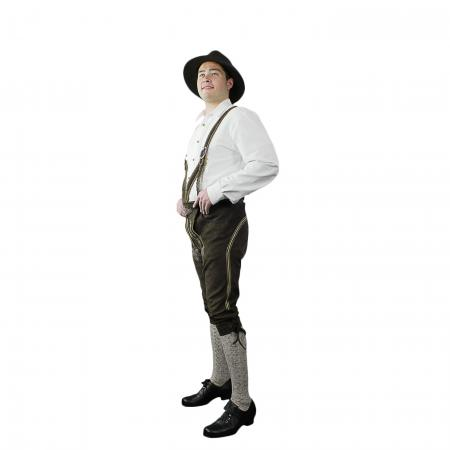 Speith & Wensky Brown Bundhosen White Stitching size 48
