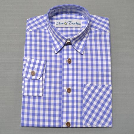 Boy's blue German Checkered shirt