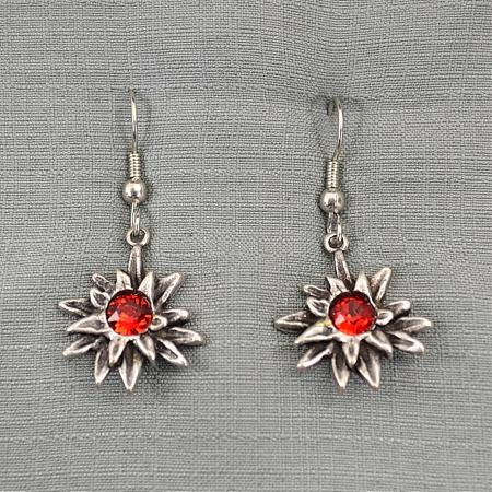 red jewel earring