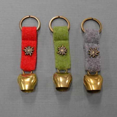 felt bell edelweiss key ring