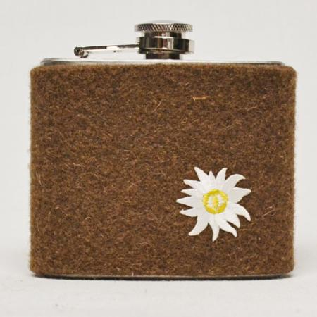 Felt brown edelweiss flask