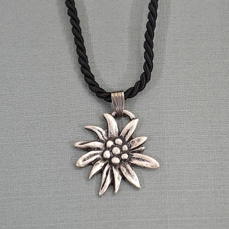 black corded edelweiss necklace