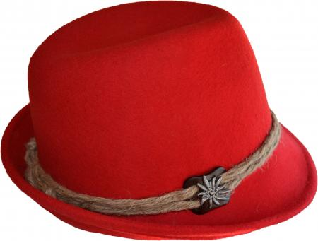 Ladies Red Hat with Hemp Cord