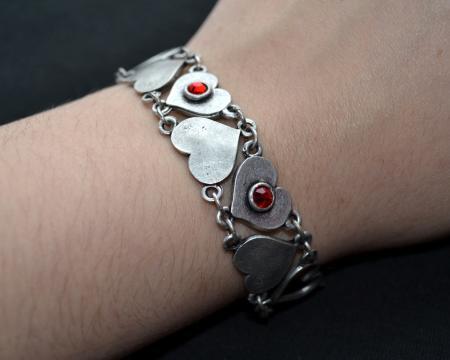 Colored Gem Heart Bracelet