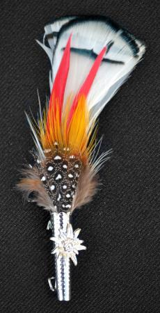 Small Colorful Feather with Edelweiss Holder