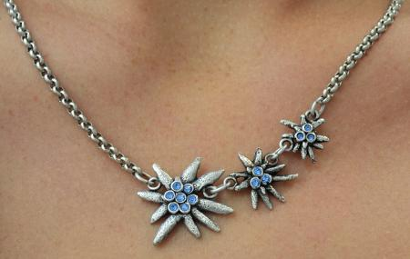 Colored Gem Edelweiss Necklace